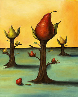 Pear Tree Painting - Pear Trees 3 by Leah Saulnier The Painting Maniac