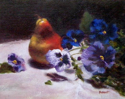 Floral Still Life Painting - Pear With  Purple Pansies by Jill Brabant