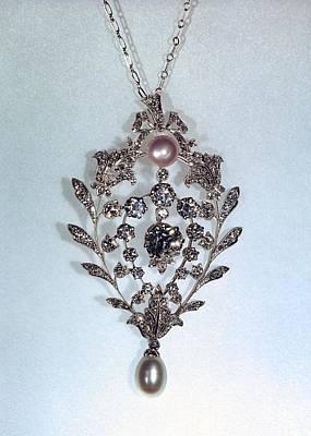Platinum Photograph - Pearl And Diamond Pendant by Ria Novosti