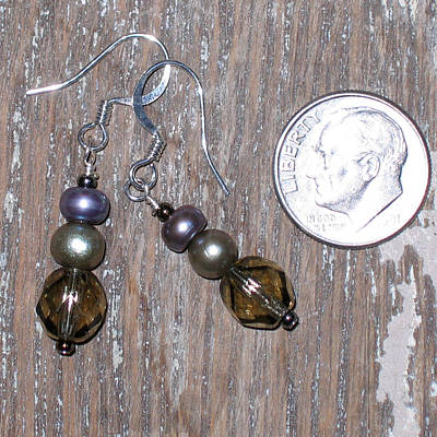 Pearl And Faceted Crystal Earrings Original by Elizabeth Carrozza