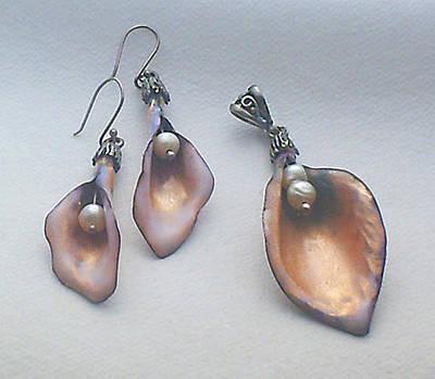 Enamel On Copper Jewelry - Pearl Bells by Asya Ostrovsky