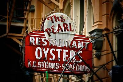 Print featuring the photograph Pearl Restaurant Sign by Jim Albritton