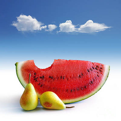 Watermelon Photograph - Pears And Melon by Carlos Caetano