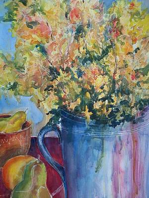 Painting - Pears And Petals by Sandy Collier