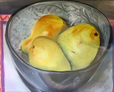 Pastel - Pears In Blue Bowl by Gitta Brewster
