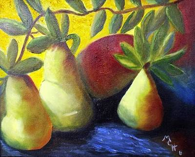 Pears In Sunshine Art Print by Margaret Harmon