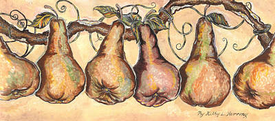 Concord Grapes Painting - Pears Of The Vine by Kathy-Lou