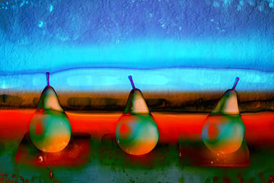 Collage Photograph - Pears On Ice 01 by Carol Leigh