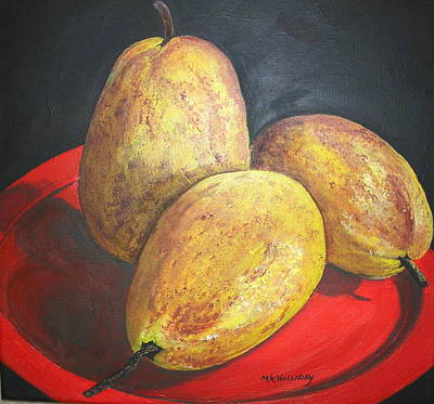 Pears On Red Plate Art Print