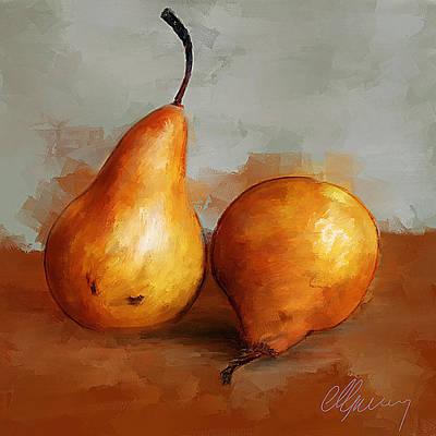 Pears Still Life Art Print by Michael Greenaway