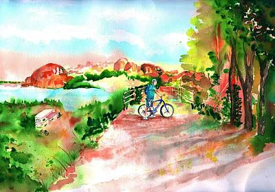 Two Bicycles Painting - Peavine Trail Prescott Arizona by Sharon Mick