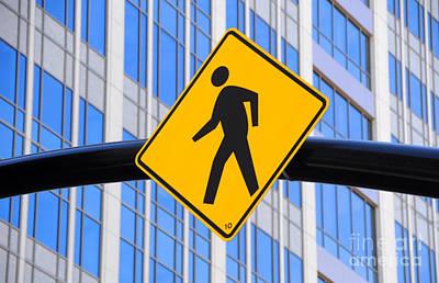 Crosswalk Photograph - Pedestrian Crosswalk Sign In Business District by Gary Whitton