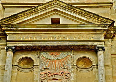 Photograph - Pediment Of Oldest High School In France by Kirsten Giving