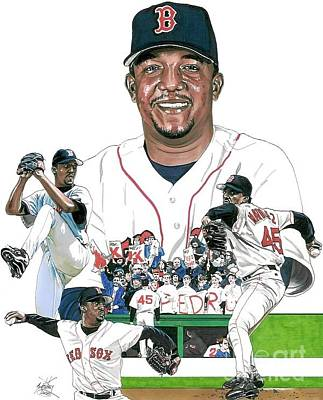 Mlb Boston Red Sox Drawing - Pedro Martinez by Neal Portnoy