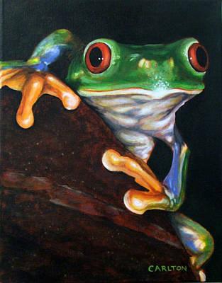 Peek-a-boo Frog Art Print by Brian Carlton