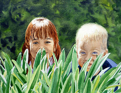 Sisters Painting - Peekaboo by Irina Sztukowski