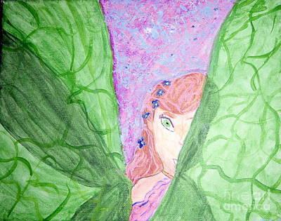 Peeking Fairy  Art Print by Elizabeth Arthur