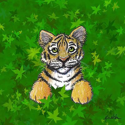 Peeking Tiger Art Print by Kim Niles