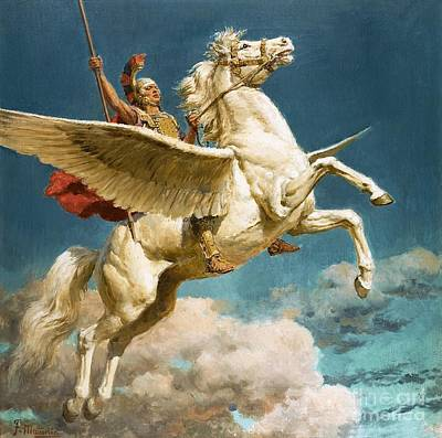 Greek Painting - Pegasus The Winged Horse by Fortunino Matania