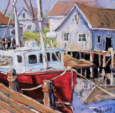 Lighthouse By The Ocean Painting - Peggy S Cove 02 By Prankearts by Richard T Pranke