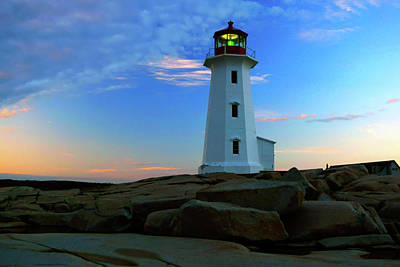 Peggy's Cove Lighthouse At Sunrise Art Print by Rick Berk