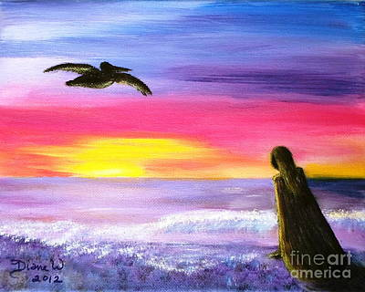 Redondo Beach Pier Wall Art - Painting - Pelican And The Princess by Diane Wigstone