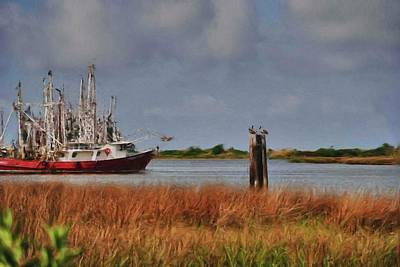 Digital Art - Pelican And The Red Shrimpboat by Michael Thomas
