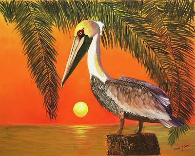 Painting - Pelican At Sunrise by Jan Fink