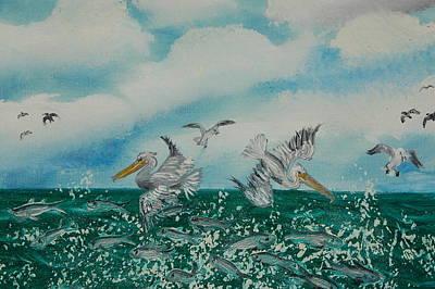 Pelican Feast Art Print by Katheryn Napier