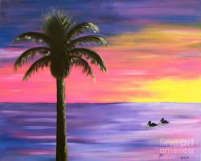 Redondo Beach Pier Wall Art - Painting - Pelican Pair Purple Sunset by Diane Wigstone