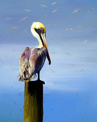 Painting - Pelican Perch by Suni Roveto