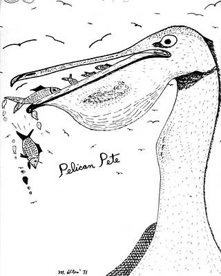 Photograph - Pelican Pete - Cartoon Drawing by Merton Allen