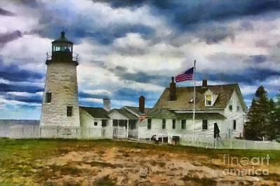 Pemaquid Point Lighthouse In Maine Art Print
