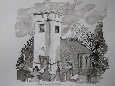 Pen And Ink-llanarthne Church-01 Art Print by Pat Bullen-Whatling