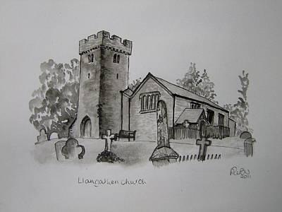 Pen And Ink-llangathen Church-01 Art Print by Pat Bullen-Whatling