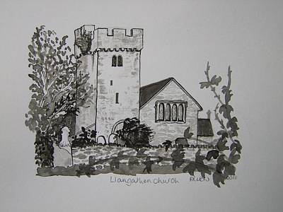 Pen And Ink-llangathen Church-02 Art Print by Pat Bullen-Whatling