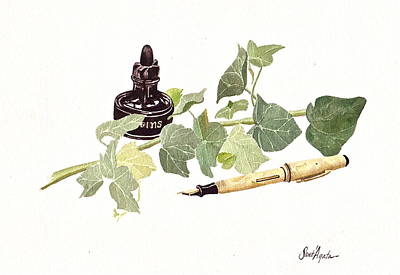 English Ivy Painting - Pen Ink And Ivy by Frank SantAgata