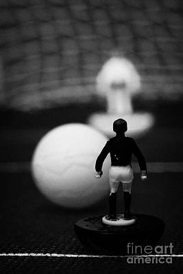 Penalty Kick Football Soccer Scene Reinacted With Subbuteo Table Top Football Players Game Print by Joe Fox