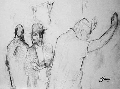 Torah Drawing - Pencil Of Wailing Wall - Israel by Bruce Shane