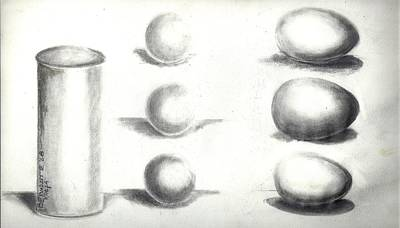 Art Print featuring the painting Pencil Shadows by Bernadette Krupa