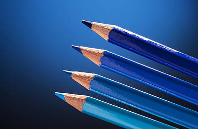 Y120831 Photograph - Pencils In Different Shades Of Blue by Timo Westergard