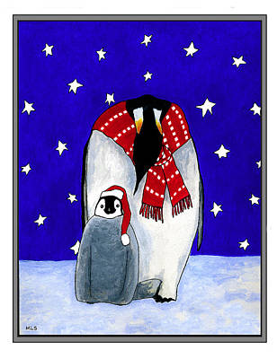 Penguin's First Christmas Art Print by Marla Saville