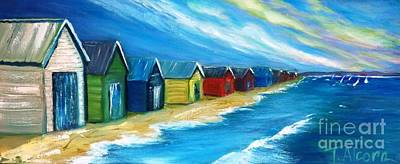 Peninsular Boatsheds Art Print by Therese Alcorn