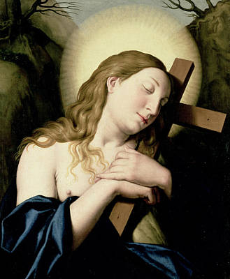 The Wooden Cross Painting - Penitent Magdalene by Il Sassoferrato