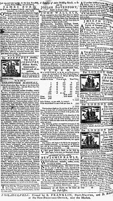 Pennsylvania Gazette, C1749 Art Print by Granger