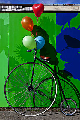 Penny Farthing Photograph - Penny Farthing And Balloons by Garry Gay