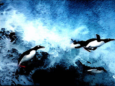 Hera Painting - Penquin Joy Play  In Huge Waves by Colette V Hera  Guggenheim