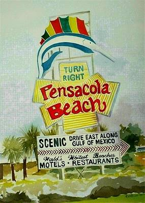 Painting - Pensacola Beach Sign by Richard Willows