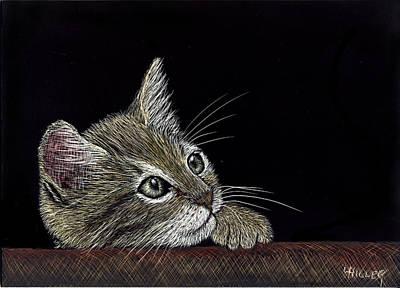 Pensive Kitten Original by Linda Hiller