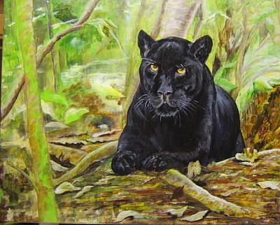 Pensive Panther Art Print by Maureen Pisano